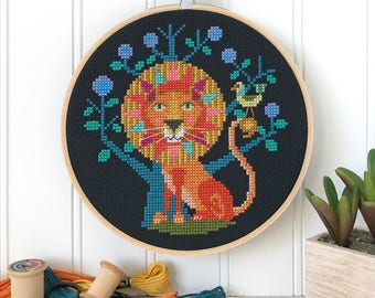 Leo - lion zodiac sign - Satsuma Street modern cross stitch pattern PDF - Instant download