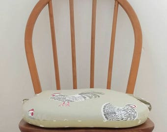 Seat pad in Clarke and Clarke rooster fabric, zipped covers, kitchen chair pad, country kitchen, tie on chair cushions, foam dining pad.