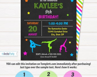 Gymnastic Invitations - Gymnastics Birthday Invitation - Gymnastics Party Invitation - INSTANT ACCESS - Edit NOW at home with Templett.com!