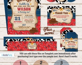 Western Invitations - Western Party - Western Birthday  - Western Theme - Western Labels - Western Thank You Cards - Instant Access - Cowboy