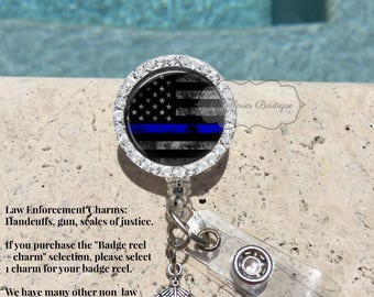 Bling Thin Blue Line Retractable Badge Holder, Police Badge Holder, Police Badge Reel, Blue Lives Matter, Personalized Badge,MB332