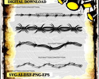 Four Barbed Wires Vector Art Vinyl Decal T-shirt Digital Cutting Files ,Svg, Ai, Eps, Dxf