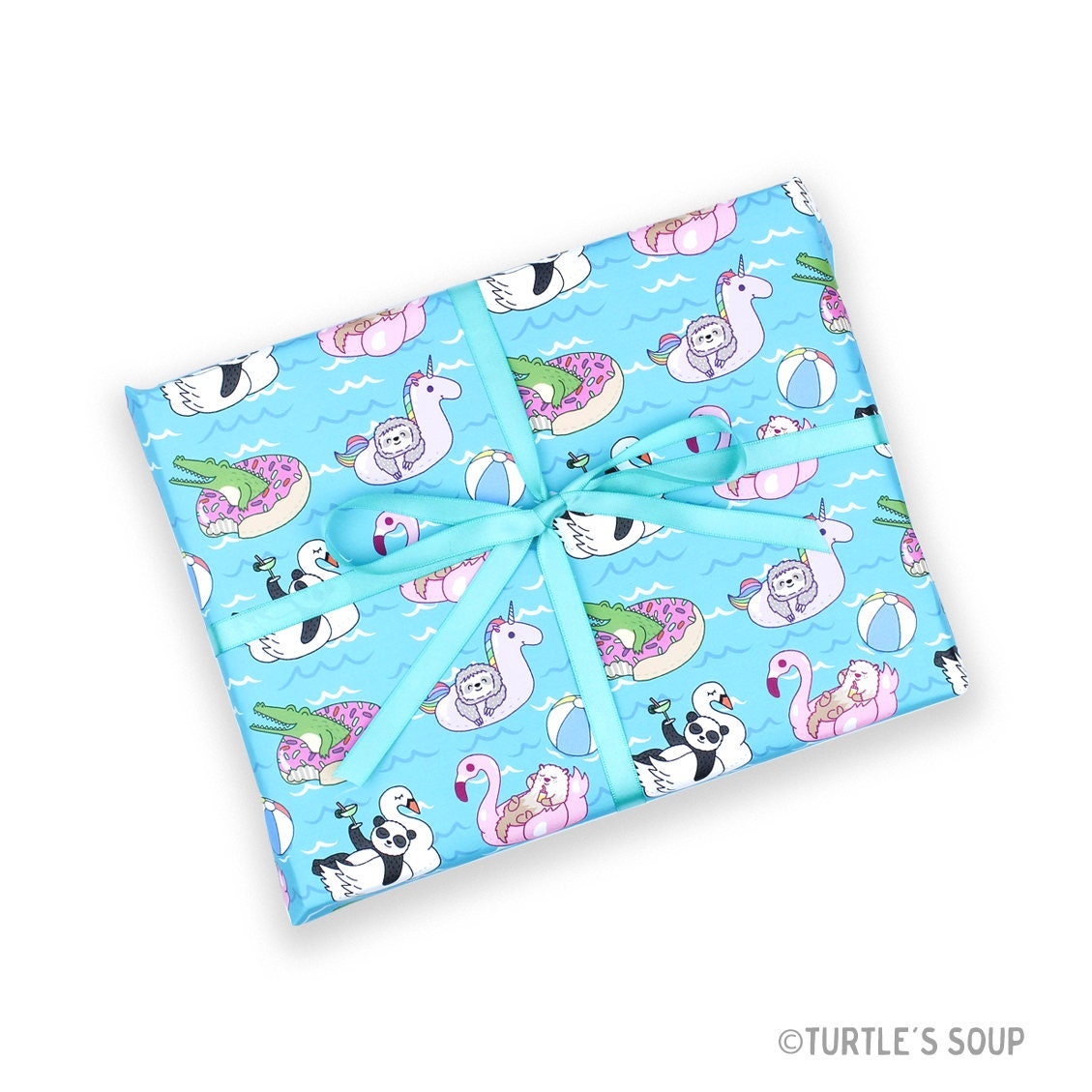 pool party beach gift sloths christmas gift wrap holiday wrapping kids
