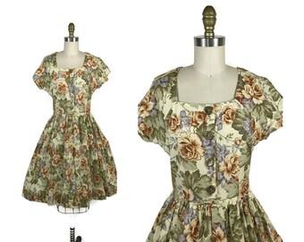 1980s Handmade Floral Sundress / 80s Vintage Autumn Floral Summer Dress size S Small