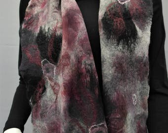 Nuno felt scarf, black, grey with red accents. Felted silk scarf, handmade for women.
