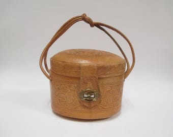 Vintage Leather Hand Tooled Pill Box Purse,  1930s Mexico Tooled Handbag