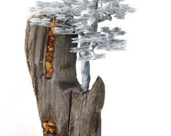 Driftwood Sculpture / Driftwood Art / Driftwood Bonsai / Wire Tree Sculpture / Bonsai Wire Tree / Metal Sculpture / Wire Art / Metal Art