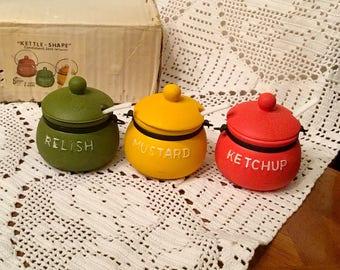 Set of Three (3) Kettle Shaped Condiment Jars with Spoons ENESCO JAPAN VINTAGE