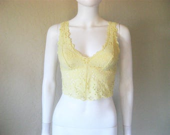 pale yellow eyelet cropped camisole tank top -xs