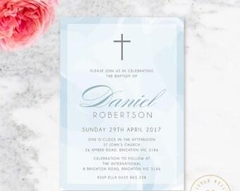 Boy Baptism Invitation Printable / Boy Baptism Invite / Boy Christening Invite / Cross / Blue
