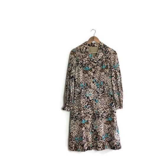Vintage 60s brown floral dress / boho mod dress / button up vintage shirt dress / cool retro brown blue floral dress / handmade 60s dress /