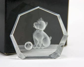 Signed Steinbach Etched Crystal Playful Terrier Dog with Ball