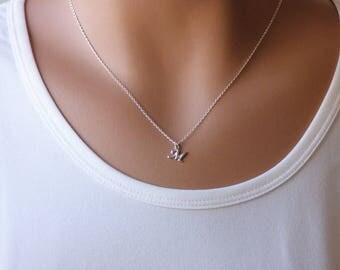 Mini letter Necklace, Capital Letter Necklace, Tiny letter Necklace, Silver Tiny Letter Necklace, script Letter Necklace, Initial