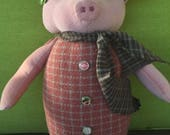 Pig  , Pig Doll , Farmhouse Decor , Cute Pig , Pink Pig , Primitive Doll , Animal Doll , Handmade Doll , Country Decor, Gift for Pig Lover