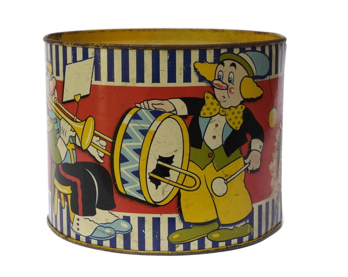 Vintage Tin Toy Drum with Clown Illustrations. Acme Toys made in England. Lithograph Tin.