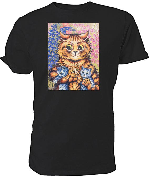 Louis Wain Mother Cat with Kittens T shirt. classic round neck short sleeved choice of sizes and colours,