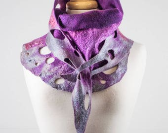 Purple and grey Felt Scarf | felted scarf | Hand Dyed scarf| Nuno felt scarf| Gift | Felted scarves | Lacy scarf| silk | Unique Style