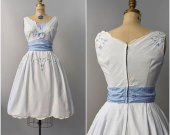 1950's white and blue cotton cutout sun dress • small