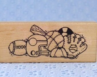 Sports Border Stamp, by DOTS, Football, Basketball, Baseball, Soccer, Wood Mounted Rubber Stamp, Paper Crafts, Card Making