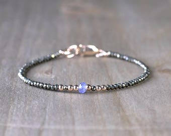 Skinny Pyrite & Tanzanite Bracelet in Sterling Silver or Gold Filled, Sparkly Stacking Delicate Bracelet, Thin Layering Gemstone Bracelet