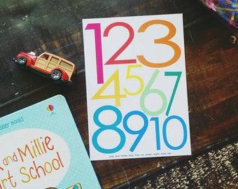 Numbers Art Print | playroom wall art, children's print, kids decor, little learners, numbers, kid's print, nursery art, classroom, teacher