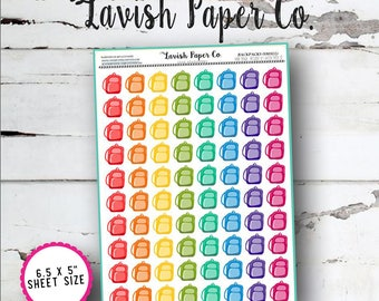Backpack (small) Planner Stickers by Lavish Paper Co. | for Erin Condren, Kikki K, Mormon Planners, inkWell Press & More!