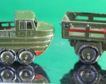 Scarce Vintage 1950 Japan Linemar Penny Miniature Lead Toy Amphibious Military Vehicle Pair. Free Shipping Domestic USA
