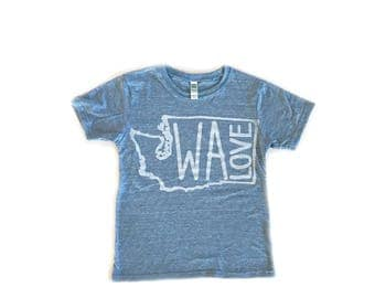 WA LOVE Youth T-Shirt-Crew neck-Royal Apparel Eco Tri Blend Tee-Organic cotton, recycled poly and rayon.