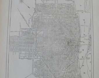 Detroit Map Etsy - Detroit usa map