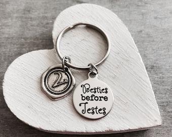 Besties, before Testes, Friend Jewelry, Friend Keychain, SILVER KEYRING. Friend Keepske, Gift for Friend, Silver Keychain, Silver Jewelry