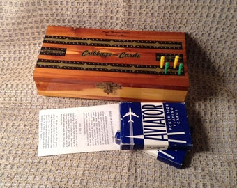 Vintage Wooden Cribbage Board, Box -  Cribbage Cedar Box with Pegs,  2 Decks of Aviator Playing Cards, & Rules - Handmade Minnesota