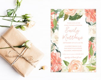Baby Shower Invitation, Peach Watercolor Painted Floral Invitations for Baby