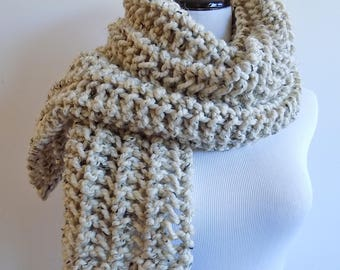 Hand Knit Oatmeal Color Scarf - Knitted Tan Ecru Scarf - Chunky Off White Wide Scarf ~ Hand Knit Neutral Warm Winter Wool Blend Scarf