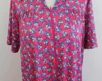 Vintage 80s hot pink floral housedress mumu robe, small-medium