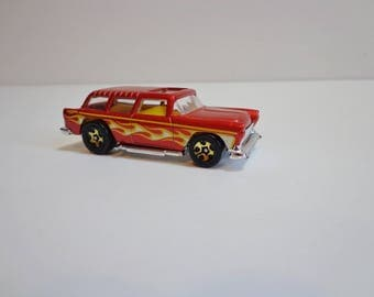 Vintage Hot Wheels Collectible 1969 Red Chevy Nomad with Flames Car Toy Rare Classic Automobile Nostalgia Mini Toy Wagon Mattell