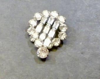Vintage Weiss Rhinestone Brooch/Pin-  Glittery Bright Statement