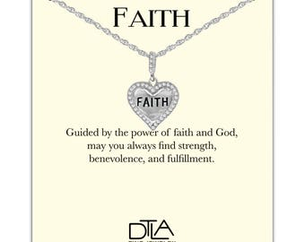 DTLA Faith Cross Necklace in Sterling Silver with Religious Spiritual Message Card - Faith Heart