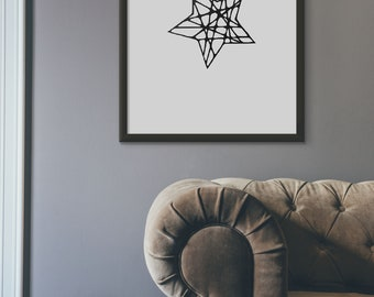 Star Printable Wall Art, Moder Office Decor, Minimalist Black and White Print, Scandinavian Star Artwork, Black Star Geometric, Pdf, Jpg
