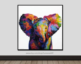 67 x 67 cm, Elephant paintings, elephant wall decor