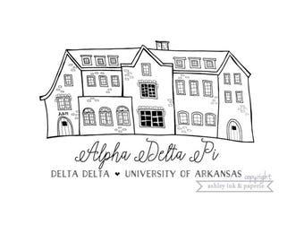 Arkansas Alpha Delta Pi House ~ B&W or Gold Metallic Print