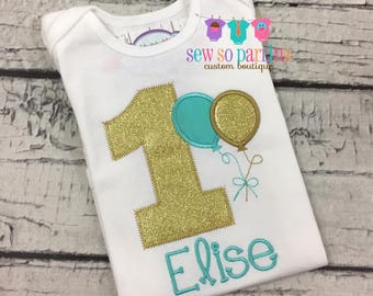 1st Birthday Girl Shirt - Girls Turquoise and Gold Birthday Outfit - Balloon Birthday Outfit - Birthday shirt - 1st Birthday outfit