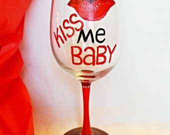 Hand Painted Wine Glass, Fiance Gift, For My Husband, Gift For Boyfriend, Gift For Her, For My Girlfriend, Wine Gifts, Husband Anniversary