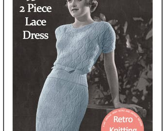 1930's Two Piece Lace Dress Vintage Knitting Pattern - PDF Knitting Pattern - PDf Instand Download
