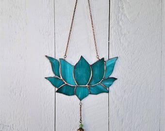 Teal Stained Glass Lotus Flower Art Window Ornament, Unique Lotus, Zen Art Ornament, Everlasting Flower, Peaceful Artwork, Decorative Charm