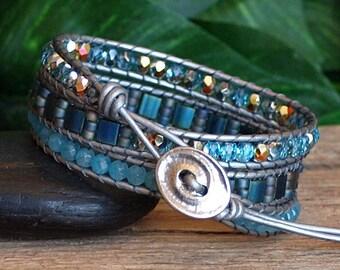 NEW! Aquamarine Blue Wrap Bracelet, Beaded Leather Triple Wrap, Tila and Gemstone Beaded Bracelet, Handmade Artisan Bracelet, Gift For Her