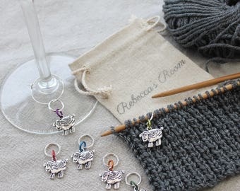 Gifts for Knitters - Stitch markers, fabric & notions, RAINBOW SHEEP knitting markers, knitting gift, knitting supplies