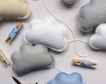 Custom Cloud Garland, Cloud Garland, Felt Cloud Garland, Cloud Nursery, Nursery Decor, Cloud Bunting