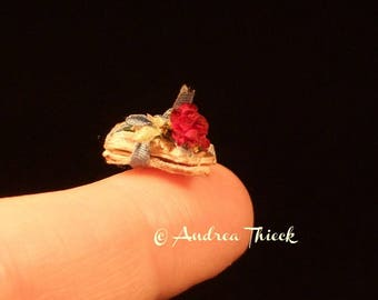 Miniature love letter with pink or red rose - 1/12 scale