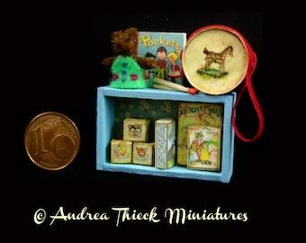 Miniature Toddler Toy Shelf - OOAK - 1:12 scale