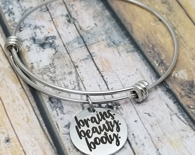 Brains Beauty Booty Customizable Expandable Bangle Charm Bracelet, choose your charms, create your style, design your bracelet,